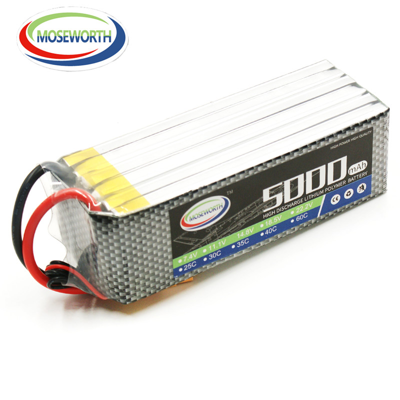 MOSEWORTH 6S 22.2v 5000mah 40c RC Lipo battery for RC Airplane Drone Quadcopter 6s Lithium AKKU Free shipping mos 2s rc lipo battery 7 4v 2600mah 40c max 80c for rc airplane drone car batteria lithium akku free shipping