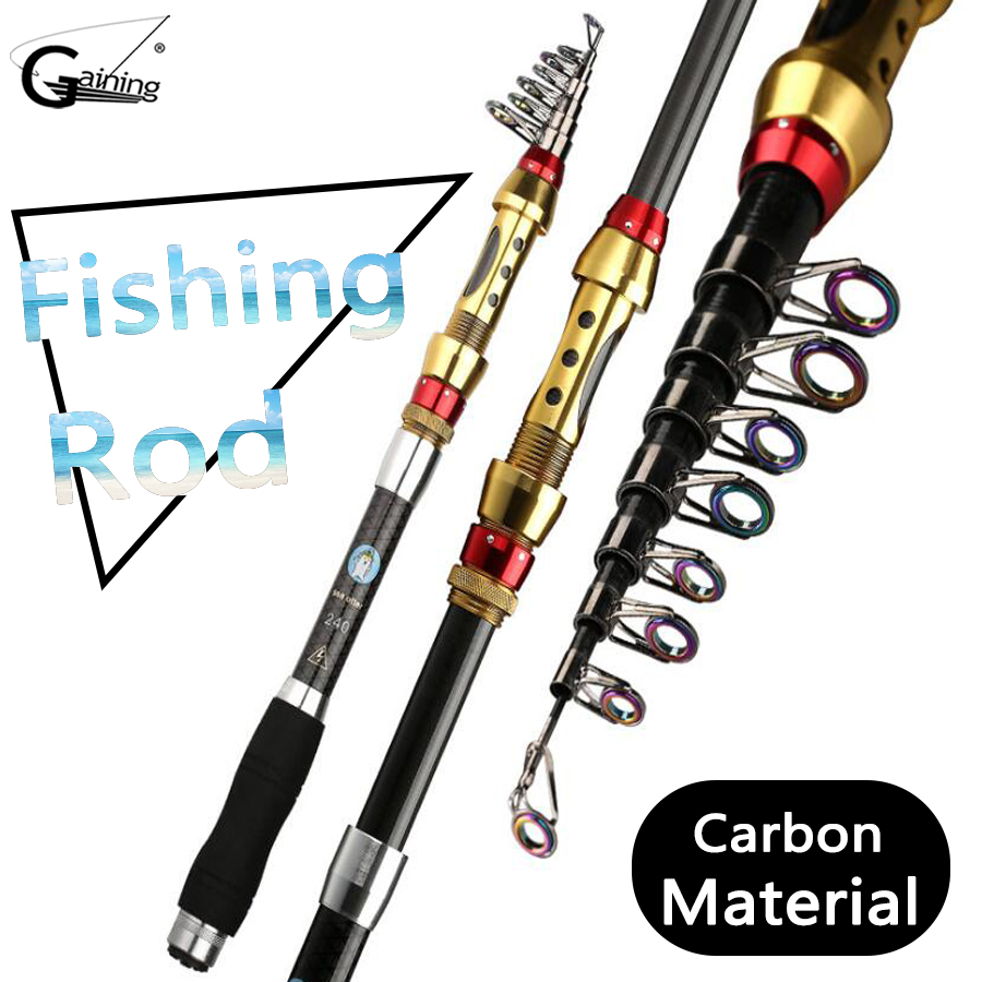 1.8m-3.6m Carbon Fiber Telescopic Fishing Rod Portable Spinning Rod Pole Travel Sea Boat Rock Fishing Rod