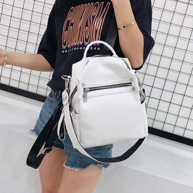 Vintage Simple Soft Leather Backpack Female Small Fashion Back Pack School Bagpack Solid Zip White Brand Designer PU Leather Bag
