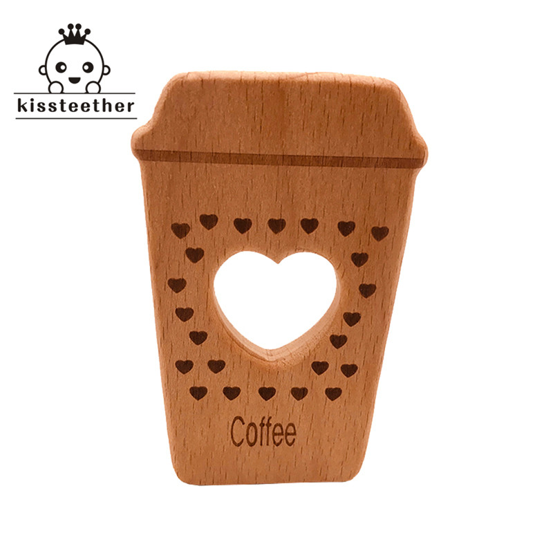 Beech Wooden Teether Hand Cut Coffee Cup DIY Pendant Accessories Eco-friendly Food Grade Wooden Teething Wood Baby Teether