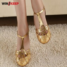 New 2018 Stylish Sexy Women Dancing Salsa Shoes Gold Silver High Heel Satin Latin Ballroom Dancing