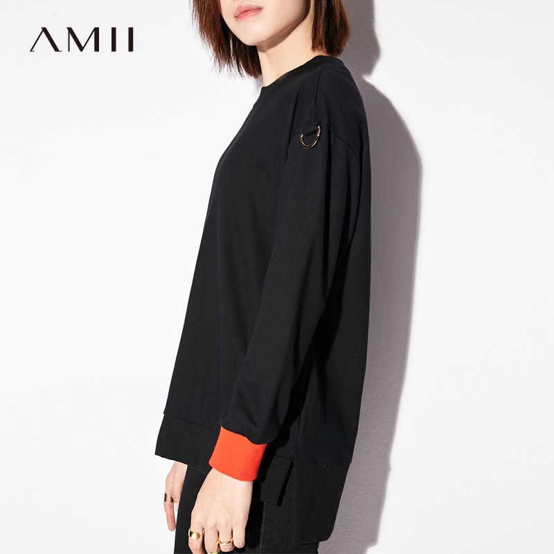 Minimalista Amii Mulheres Casuais Camisola 2019 100% Algodão Cor Contraste Manga Longa O Pescoço Pullovers Moletons Feminino