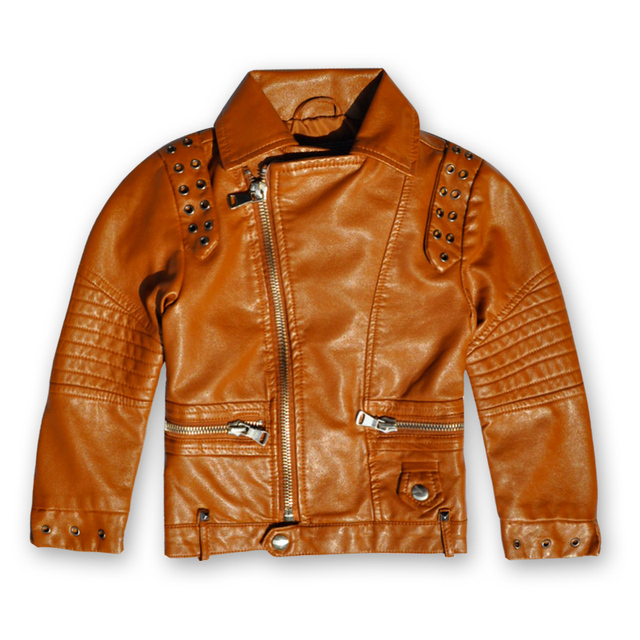 c8fa0a0fc5f1c 2017 new Baby Boys and girls Leather Jacket Casual Black Solid Children  Outerwear Kids Coats Spring Leather Jackets
