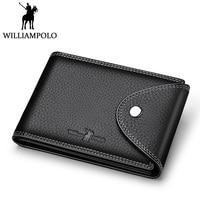 WILLIAMPOLO Original Leather Credit Card Holder Men id Card Case Organizer Pockets Black Brown Hasp Safe Design