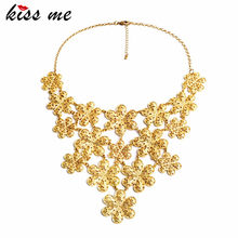 Luxury Gold Color Flowers Collar Necklace KISS ME New Collares Bijoux Costume Jewelry Valentine's Day Gift(China)