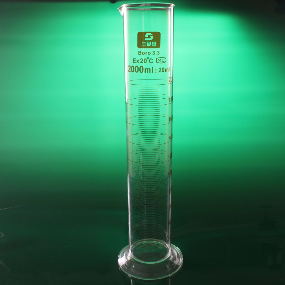 High quality Laboratory 2000ml Measuring cylinder with Scale High borosilicate 3.3 Glass Measuring Cup Lab Supplies high quality laboratory 2000ml measuring cylinder with scale taper glass measuring cup lab supplies