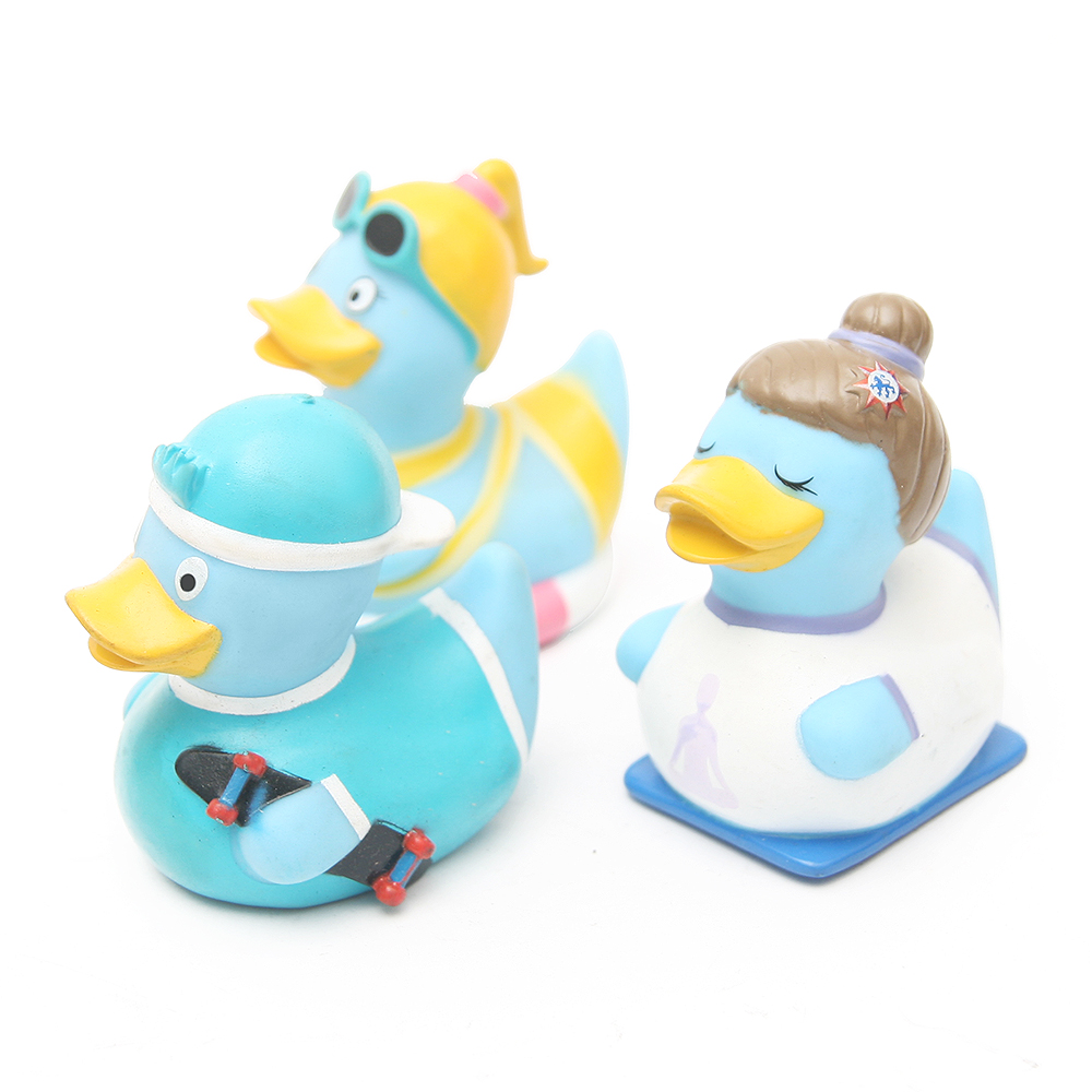 3pcs New style Baby rattle Bath toy Squeeze animal Rubber toy duck ...