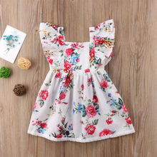 Милое платье для маленьких девочек праздничные платья принцессы с цветочным рисунком одежда с рукавами-крылышками повседневное Пышное Платье с цветочным принтом для малышей