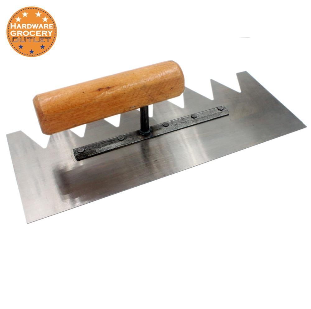 28cm X11cm  Notched Trowel V-Soft Grip Wood Handle
