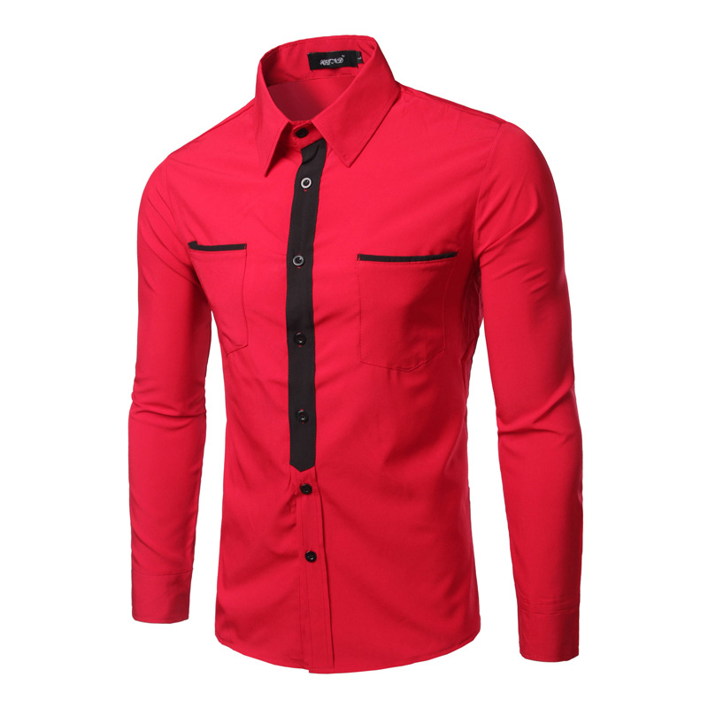 Buy casual red men shirt patchwork tie Emerald green mens dress shirt