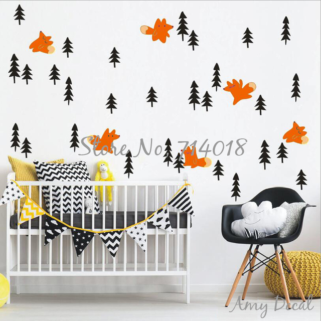 Fox And Pine Tree Wall Decals Woodland Forest Animal Nursery Decor