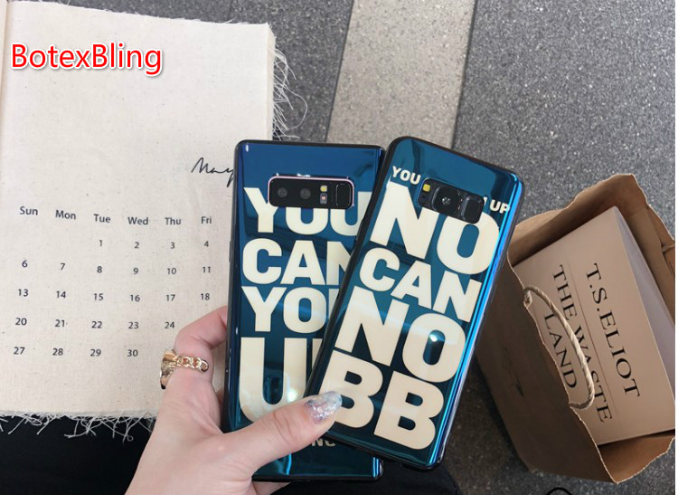BotexBling Cute Alphabet Couple IMD Blu-ray Laser case for samsung s9 plus s8plus s7edge s9 s8 cover you can you up no BB