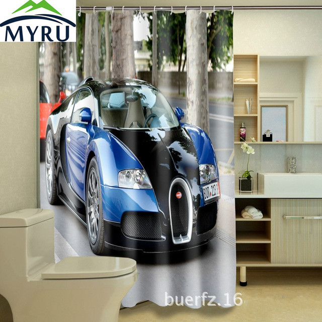 MYRU Cool 3D printing Bugatti sports car waterproof shower curtains ...