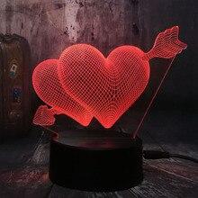 Романтическая любовь 3D стрелка через сердце светодиодный Ночной светильник Настольная лампа Свадебные Украшения в спальню для влюбленных и пара и лучшим подарком