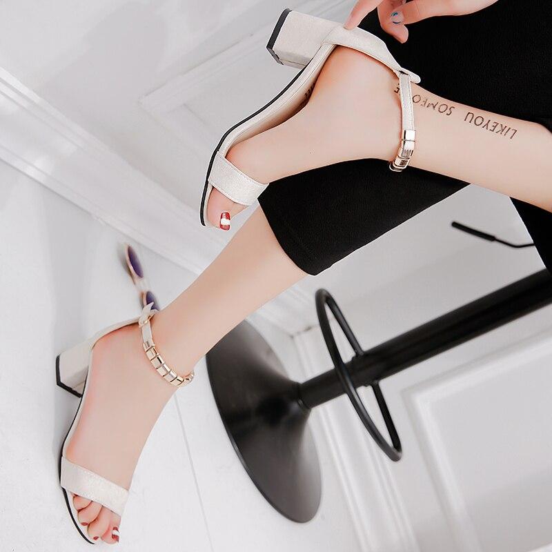 HTB1TtagiaSWBuNjSsrbq6y0mVXaM metal String Bead Summer Women Sandals Open Toe shoes Women's Sandles Square heel Women Shoes Korean Style Gladiator Shoes m668