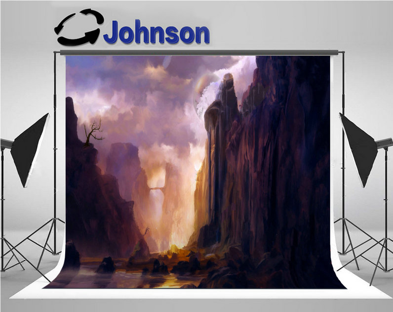 Big Mountains Rocks Trees Lake Center Sky Clouds background Vinyl cloth High quality Computer print wall photo backdrop