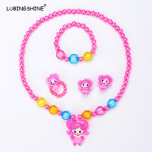 LUBINGSHINE Kids Baby Girls Jewelry Set Necklace Imitation Pearl Beads Lovely Bracelet Rings Earrings Jewelry Set JJAL T222(China)