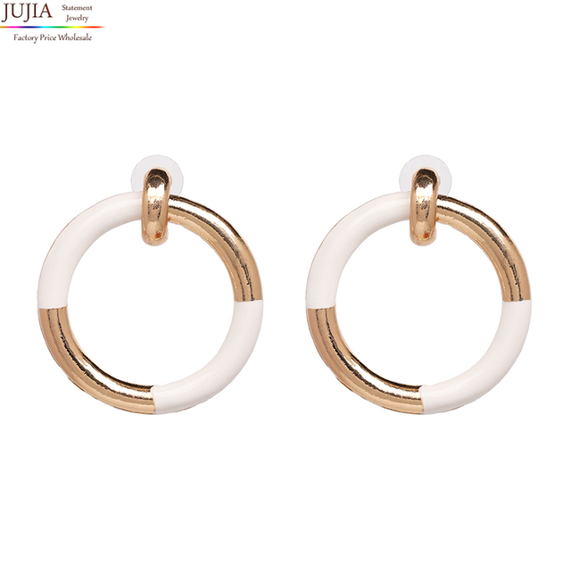 613ad35bbdd262 JUJIA 6 colors New Hot Jewelry good quality metal hoop earring Special  Bohemia Big round Earrings