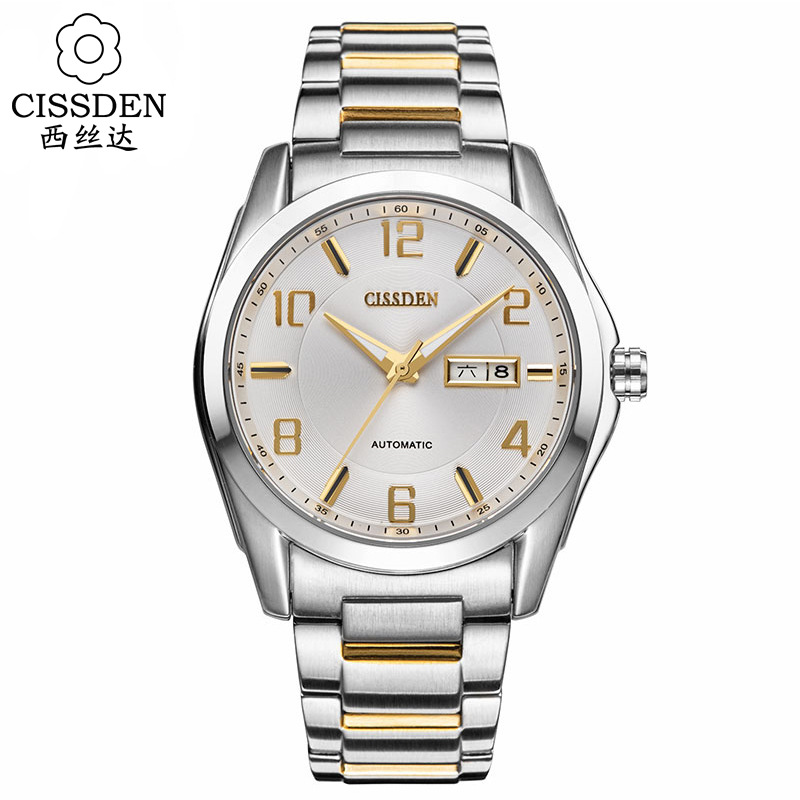 CISSDEN Luxury brand Men s mechanical wrist watch 100m waterproof calendar 316L solid steel Luminous watches