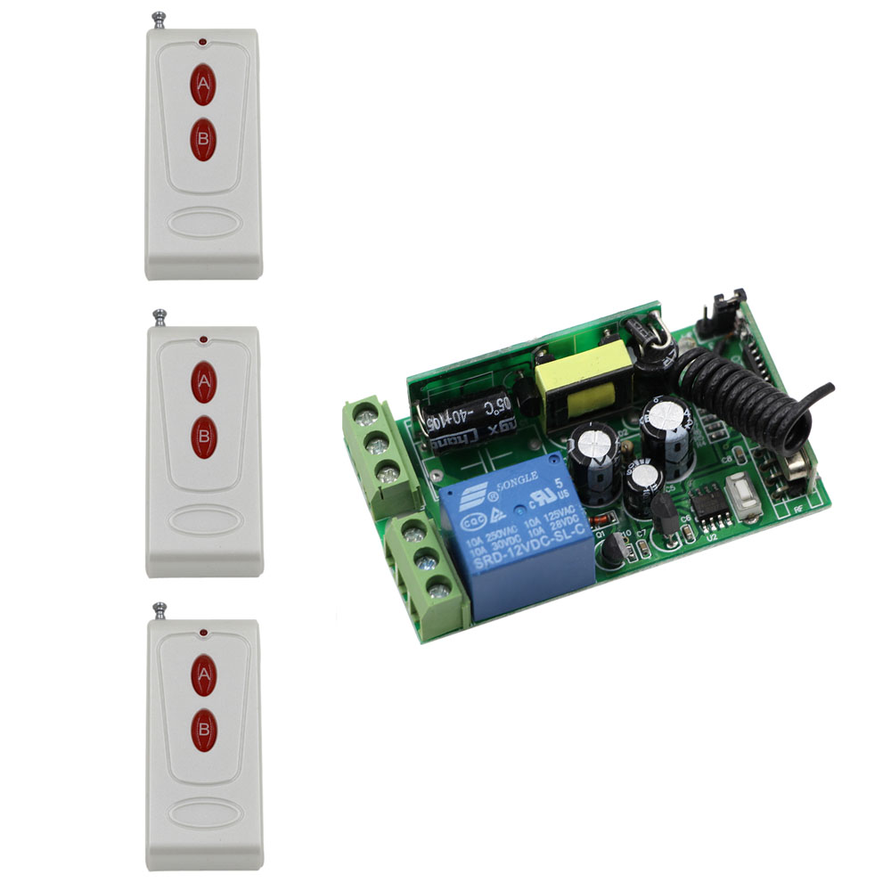 AC 85V 110V 220V 250V 1CH RF Wireless Switch 10A Relay Receiver Remote Controllers & Light Switch With White-red Key Transmitter ac 85v 250v wireless remote control switch remote power switch 1ch relay for light lamp led bulb 3 x receiver transmitter