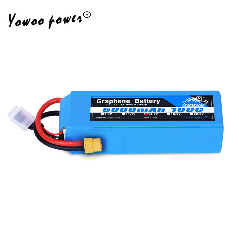Lipo 4S Battery 14.8V 5000mAh 100C Graphene Battery Max 200C XT60 T High Discharger Rate For RC Car Helicopter Quadcopter Boat(China)