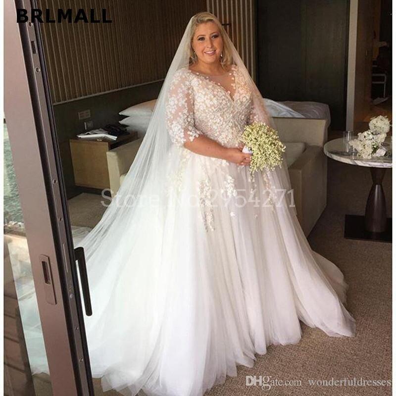 2019 Plus Size Wedding Dresses Long Sleeves Boat Neck