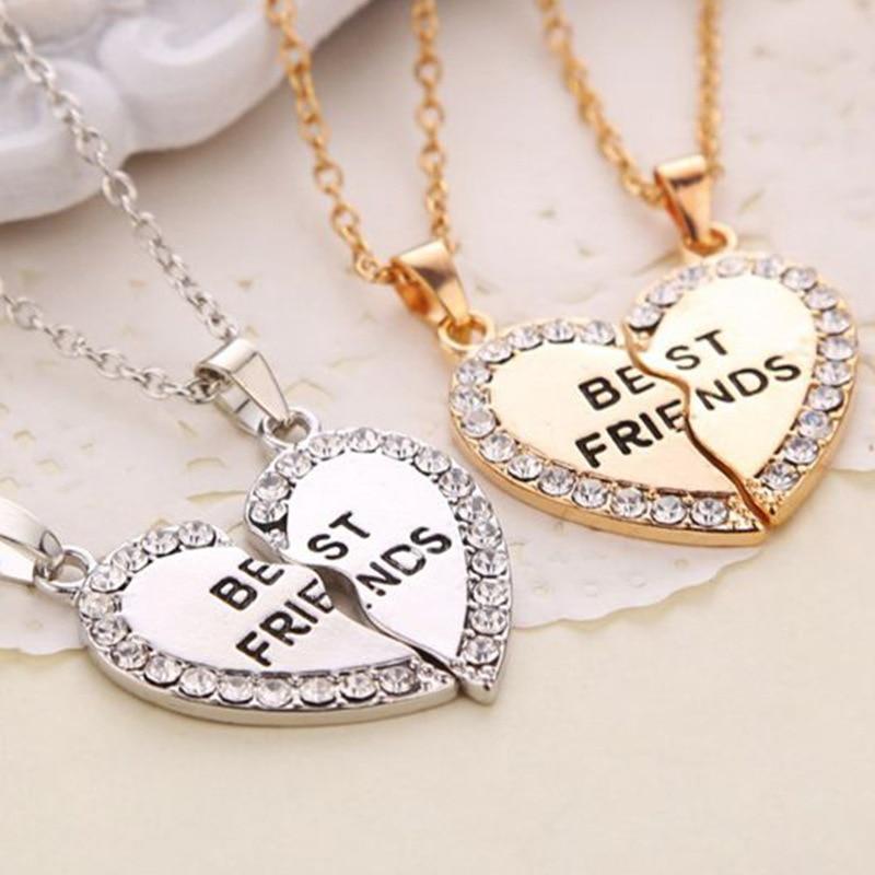 Vendita calda 2018 2pcs / set Rhinestone Broken Heart Migliore amico oro argento collane e pendenti per le donne regalo gioielli uomini nave di goccia