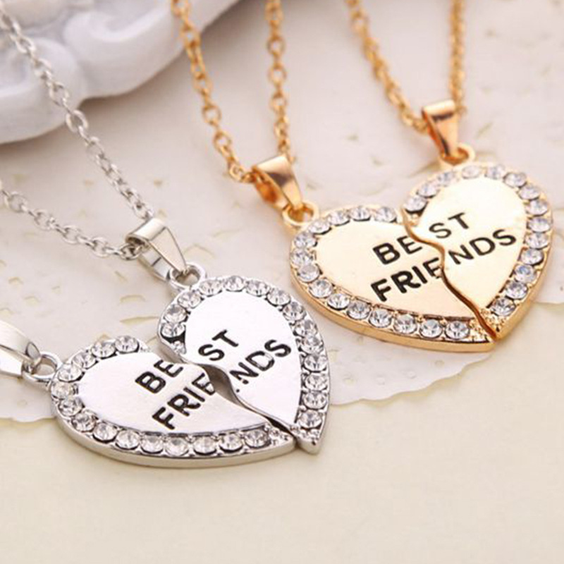 Hot Sale 2018 2pcs/set Rhinestone Broken Heart Best Friend Gold Silver Necklaces & Pendants For Women Gift Men Jewelry Drop ship