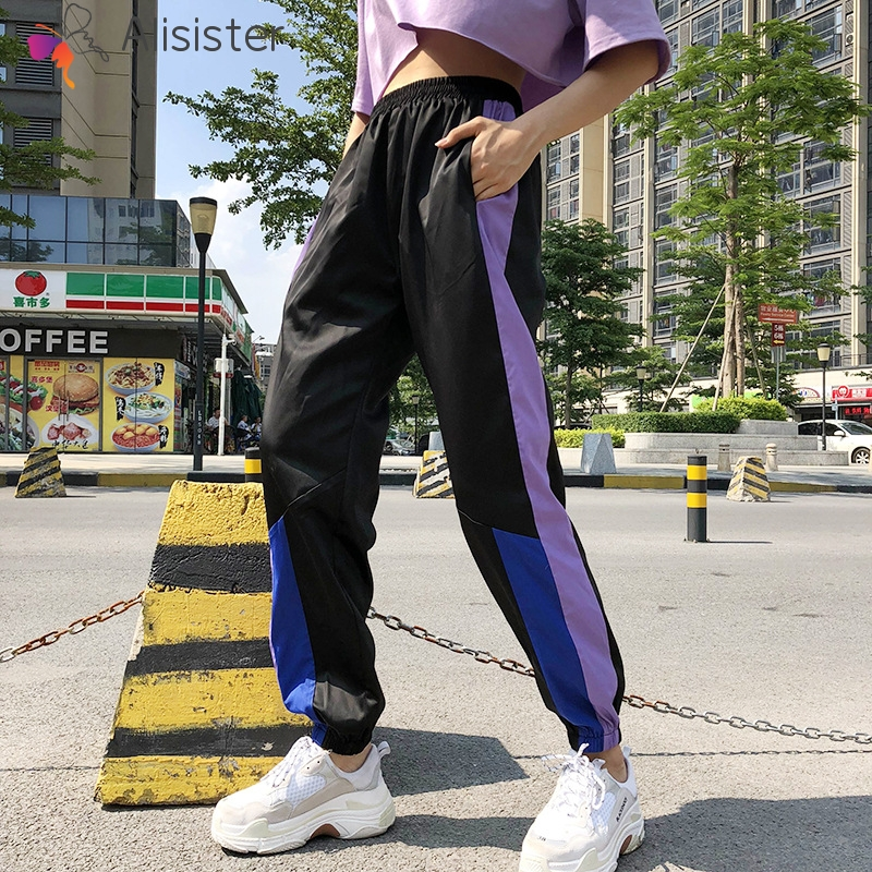 Stripe Purple Side Patchwork Casual Women Joggers High Waist Loose   Pants     Capri   2019 Hip Hop Sweatpants Streetwear Long Trousers