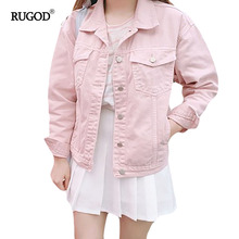 RUGOD 2017 Spring Autumn Women Solid denim Jackets Casual female Coats Loose outerwear Vintage femme jean casaco feminino