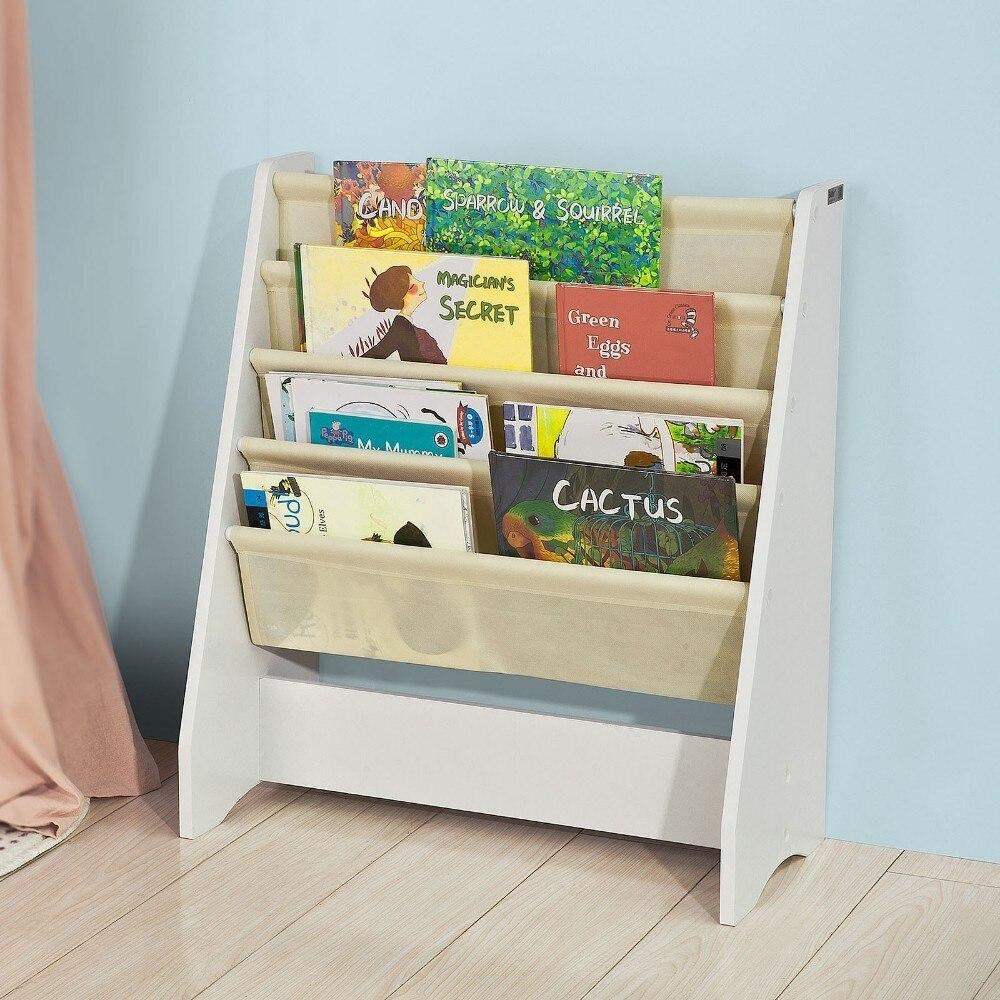 SoBuy FRG225 W, Children Kids Bookcase Book Shelf Sling Storage Rack Organizer Display Holder