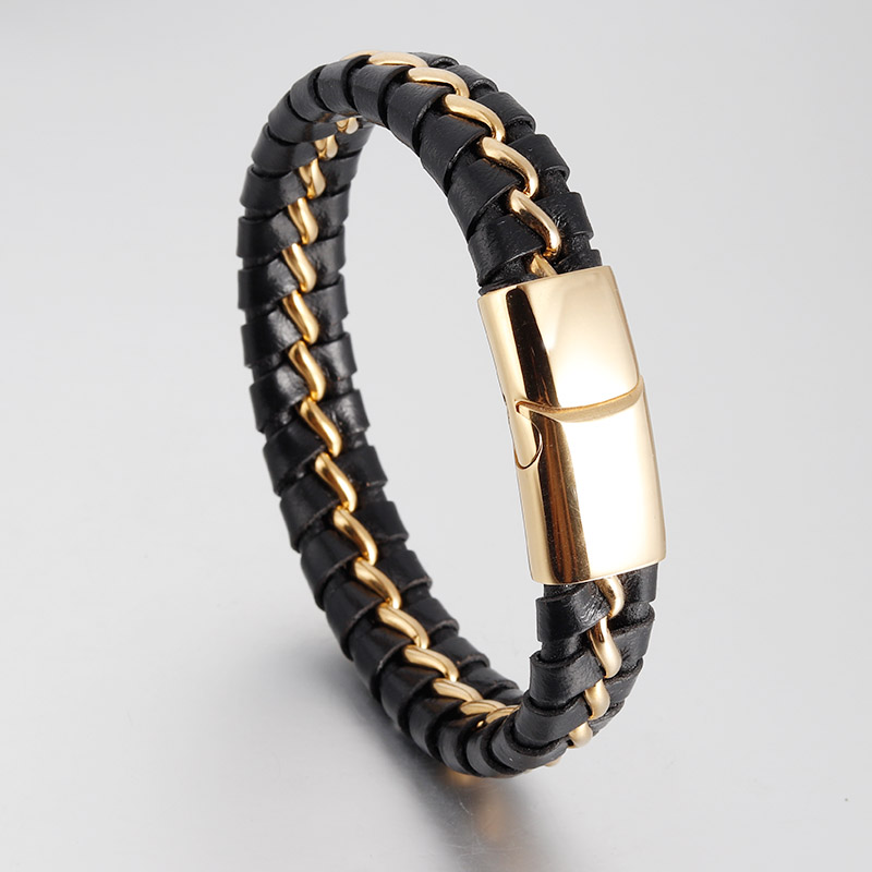Simple Handmade Black Genuine Braided Leather Bracelets Men Bangles Stainless Steel Double Layers Magnetic Charm Gold Bracelets
