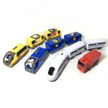 w128 Elektrische treintje voor kinderen Magnetische sleuf Elektrische treintje met twee rijtuigen Thomas Wood Toy FIT Thomas volgt houten baan Brio
