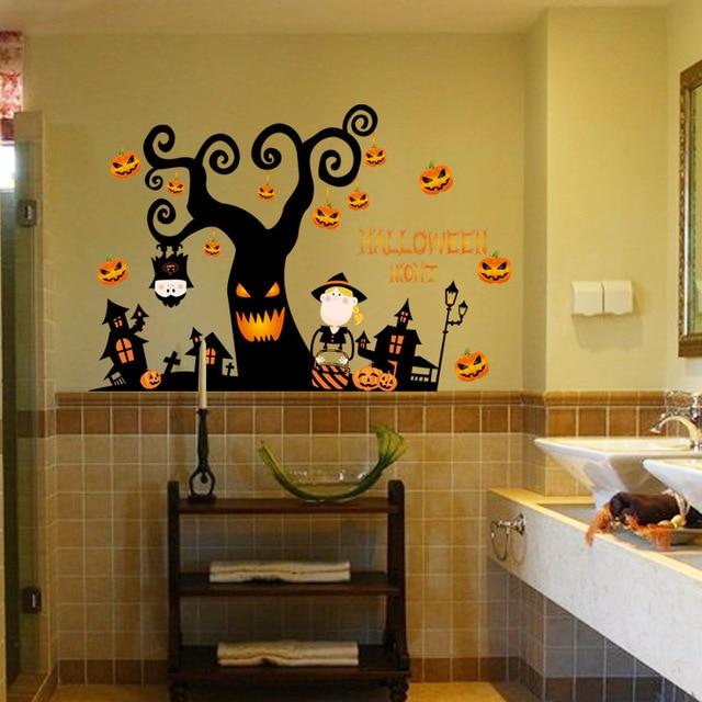 60x90 PVC Étanche Halloween Mauvais de Bande Dessinée Maison Arbre ...