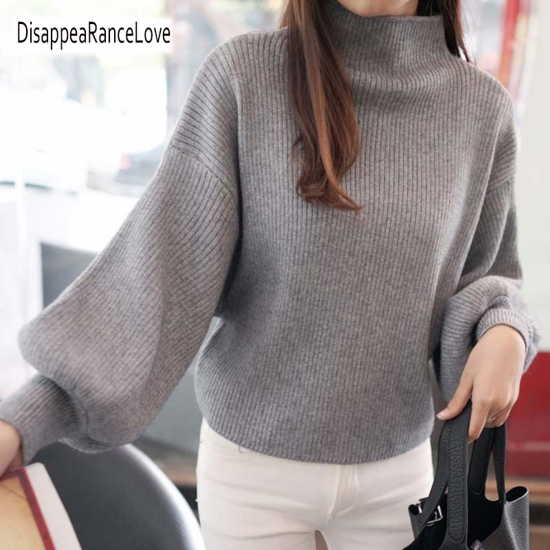 DRL 2019 New Winter Women Sweaters Fashion Turtleneck Batwing Sleeve Pullovers Loose Knitted Sweaters Female Jumper Tops 7color