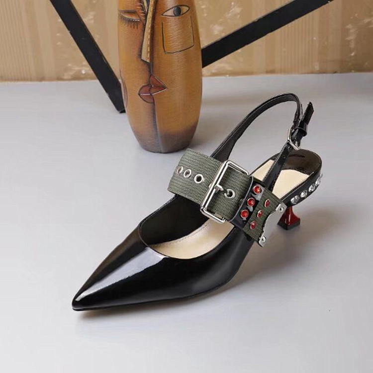 Slingback As New as Femme Cuir Talons Bout Hot Pompes Ceinture En Pic Cristal Verni Pic Embelli Pointu Boucle Funky Stiletto Chaussures TtqFtrW4