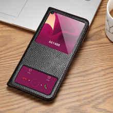 جلد طبيعي حافظة لهاتف Huawei الشرف 20 برو حالة الغطاء المغناطيسي كوكه لهواوي الشرف 20 20Pro حالة Fundas نافذة الرؤية قذيفة