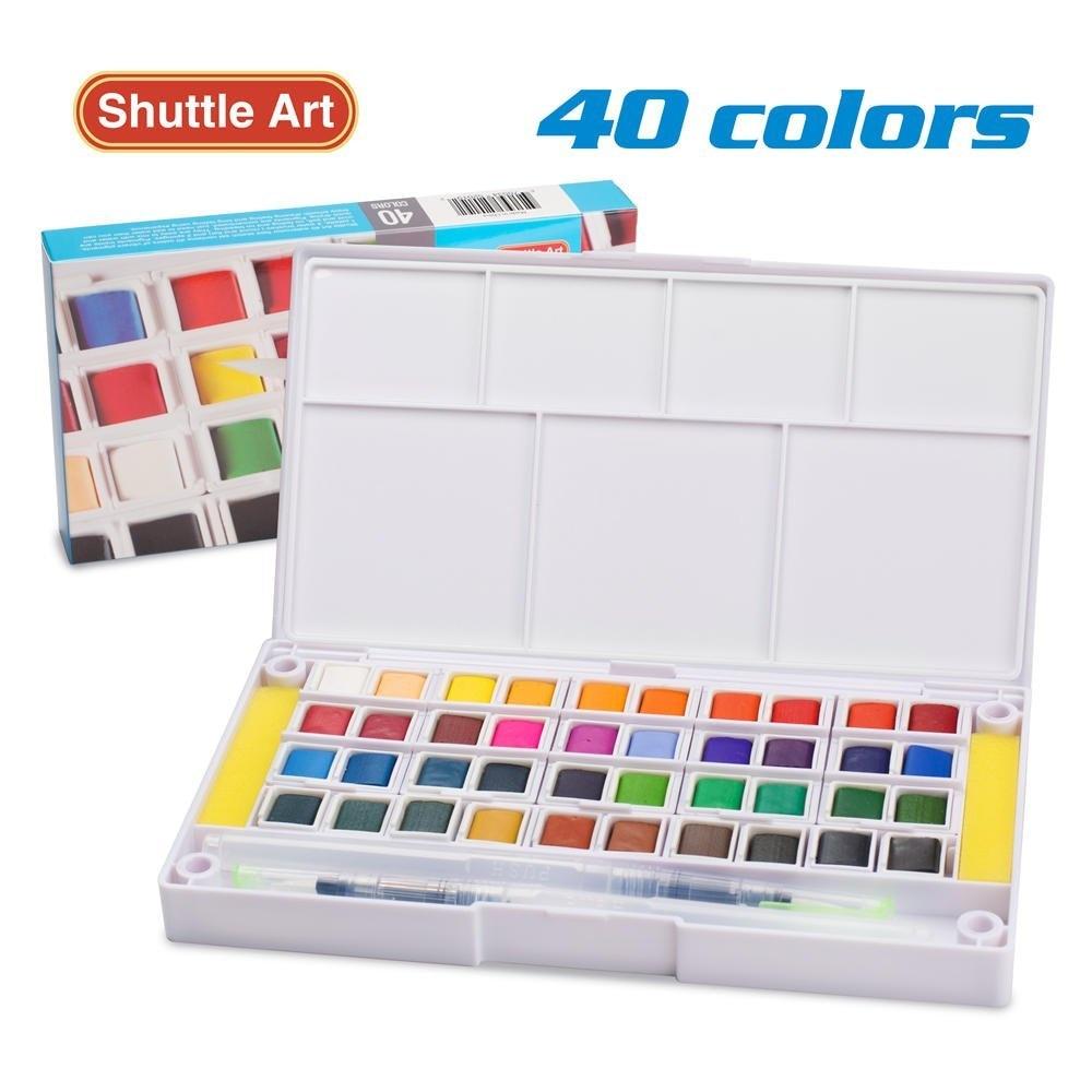 Ensemble de peinture aquarelle, croquis de champ aquarelle 40 couleurs avec Brus-étui de voyage comprend 2 pinceaux à eau 2 Palette de mélange Sponges1
