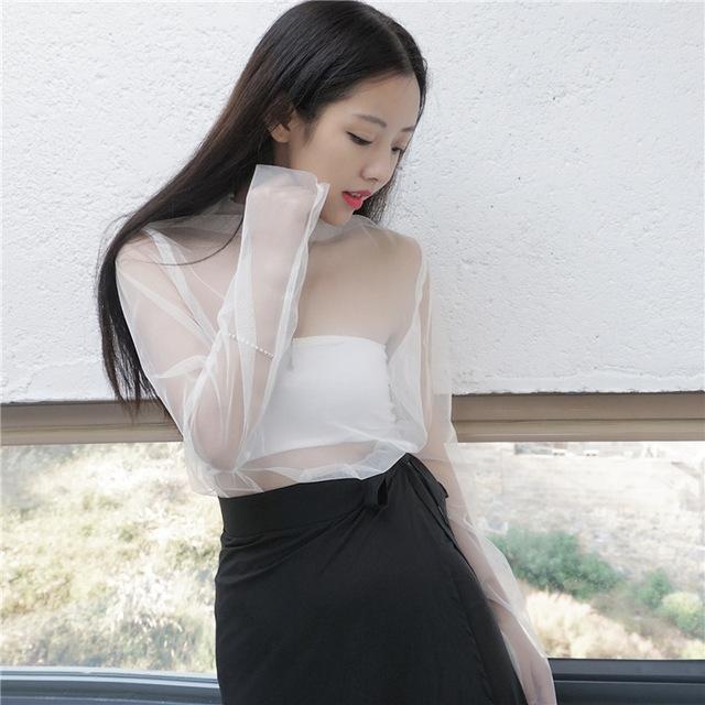 [Soonyour] 2017 de la moda de primavera del todo-fósforo nueva jersey de cuello alto manga larga atractiva perspectiva de encaje camiseta mujer y05800
