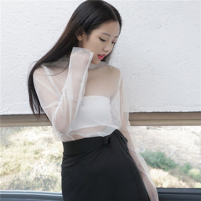 [soonyour] 2017 Spring Fashion All-match New Turtleneck Long Sleeve Sexy Perspective Lace T-shirt Woman Y05800