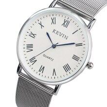 KEVIN Simple Reloj de Los Hombres de Malla de Malla de Acero Inoxidable Band hombres del Cuarzo de Pulsera Analógico para Unisex Reloj de Números Romanos Azul