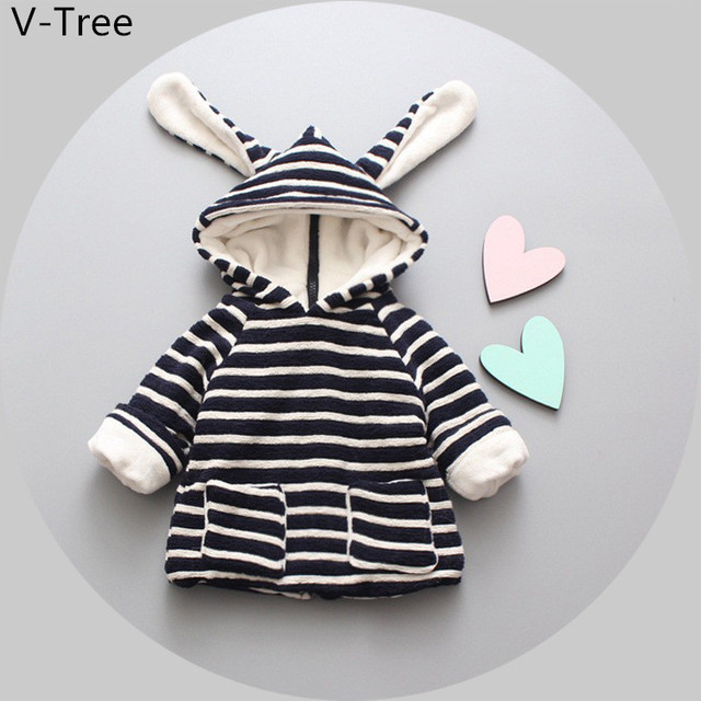 Winter Baby Boys Girls Warm Coat Children Thick Padded Outerwear Baby Kids Hooded Jacket Toddler Fashion Velet Stripe Jacket