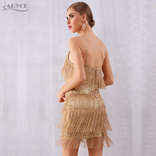 V Neck Sequin Tassels Fringe Club Dress  4