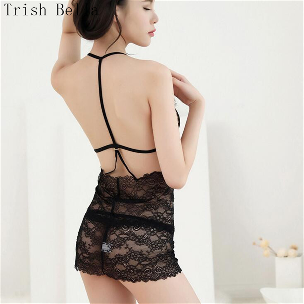 Trish Bella 2018 Lace transparent halter eyelash Tassels Backless Nightdress sexy lingerie sexy underwear lenceria erotic porno in Babydolls Chemises from Novelty Special Use