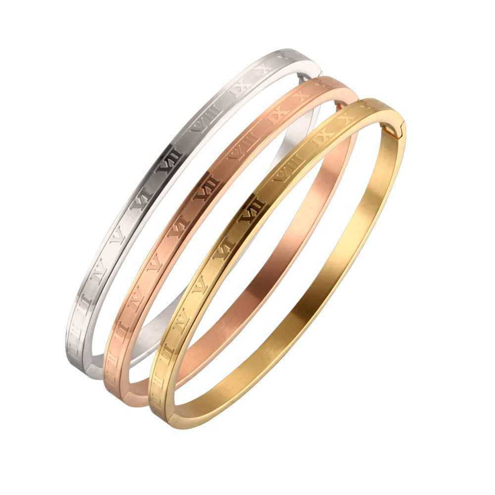 Vintage Charm Letter Stainless Steel Cuff Bangles Luxury Brand Women Ladies Casual OL Bangles Female Wedding Jewelry