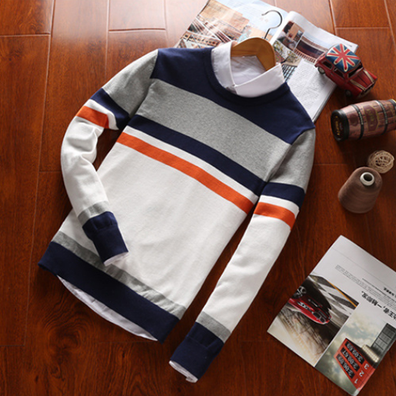 2016 Winter White Striped Mens Sweaters Brand Male Sweater Cotton Casual O Neck Slim Fit Men