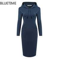 2016 Autumn Bodycon Women Hoodie Dress Jogging Sport Front Pocket Sweatshirt Hoodies Pullovers Plus Size Moleton