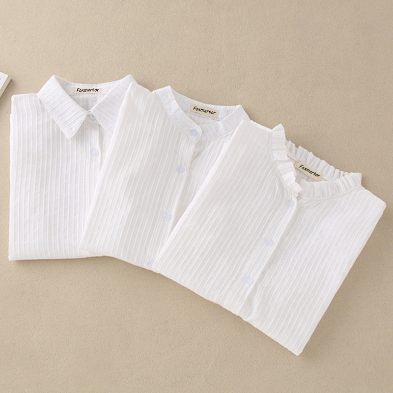 Foxmertor 100% coton chemise blanc Blouse 2018 printemps automne Blouses chemises femmes à manches longues décontracté hauts solide poche Blusas #06