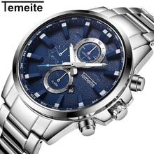 лучшая цена TEMEITE Mens Watches Stainless Steel Top Brand Luxury Sport Watch For Men 3ATM Quartz Wristwatch Male Alram Calendar Relogio