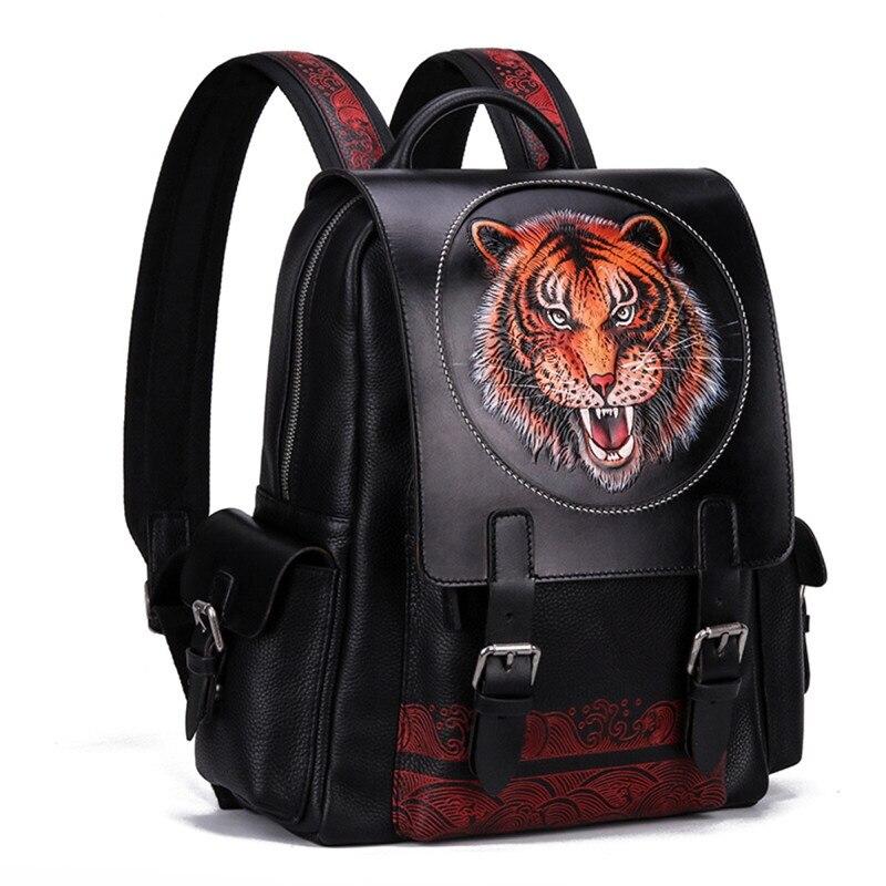 Sac à dos de voyage pour hommes en cuir véritable gravé Tiger Designer sac à dos de voyage en peau de vache véritable cousu main avec poignée supérieure pour homme